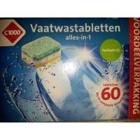 Таблетки для посудомойки всекомпонентные безфосфатные C1000 Vaatwastabletten alles-in-1 (60шт)