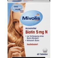 Биотин для здоровых волос, ногтей и кожи Biotin 5mg N Mivolis - Das gesunde Plus , 60 шт.