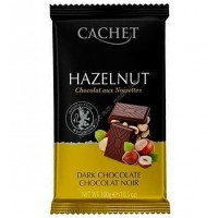 Шоколад Cachet черный с фундуком Dark Chocolate 54% with Hazelnut (300г)