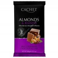 Шоколад Cachet молочный с целым миндалем и изюмом Milk Chocolate 32% with Almonds and raisins (300г)