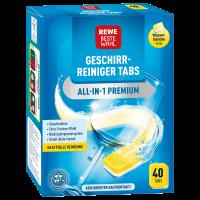 Таблетки для посудомойки премиум всекомпонентные 40шт REWE Beste Wahl Geschirrreiniger Tabs All-in-1 Premium 40 Tabs
