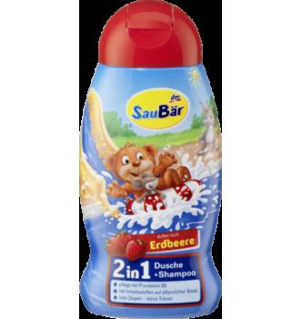 Купить Детский шампунь с ароматом клубники Saubar 2 in 1 Dusche + Shampoo Erdbeere 250мл - с доставкой по Украине