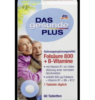 Купить Фолиевая кислота 800 + витамины В1, В6, В12 Mivolis - Das Gesunde Plus, 60 шт. - 4010355570734 - с доставкой по Украине