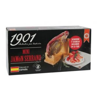 Купить Хамон, хамонера и специальный тонкий нож для нарезки хамона Mini Jamón SERRANO 950гр - с доставкой по Украине