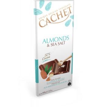 Купить Шоколад Cachet Almonds & Sea Salt (100г) - с доставкой по Украине