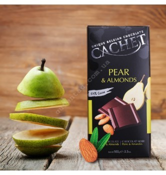 Купить Шоколад Cachet Dark Chocolate Pear & Almonds (100г) - с доставкой по Украине