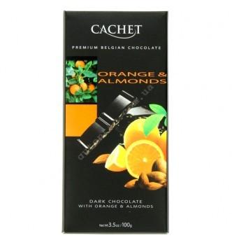 Купить Шоколад Cachet Dark Orange&Almonds (100г) - с доставкой по Украине