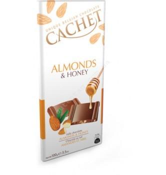 Купить Шоколад Cachet Milk Chocolate Almonds & Honey (100г) - с доставкой по Украине