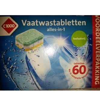 Купить Таблетки для посудомойки всекомпонентные безфосфатные C1000 Vaatwastabletten alles-in-1 (60шт) - с доставкой по Украине