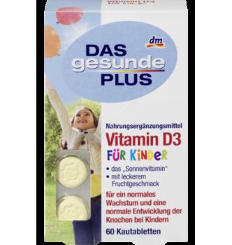 Купить Витамин D3 для детей Mivolis - DAS gesunde PLUS Vitamin D3 Kautabletten, 60 шт - с доставкой по Украине