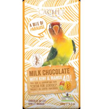 Купить Элитный бельгийский молочный шоколад 40% Танзанийского какао с киви и манго Cachet MILK CHOCOLATE with kiwi & mango 180г - с доставкой по Украине