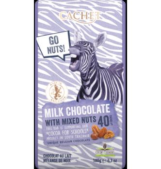 Купить Элитный бельгийский молочный шоколад 40% Танзанийского какао с смесью орехов Cachet MILK CHOCOLATE with mixed nuts 180г - с доставкой по Украине