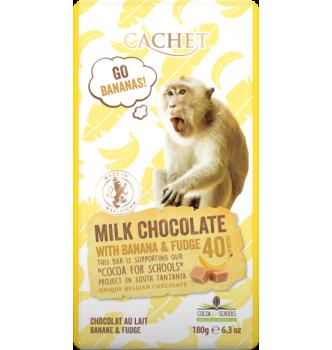 Купить Элитный бельгийский молочный шоколад 40% Танзанийского какао с бананом и карамелью Cachet MILK CHOCOLATE with banana & fudge 180г - с доставкой по Украине