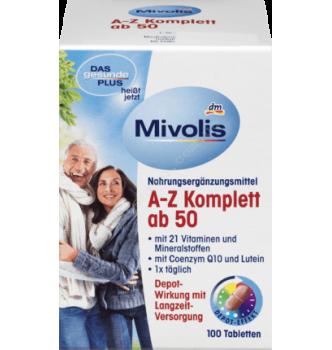 Купить Комплекс витаминов и минералов от А до Z после 50 лет Mivolis - Das Gesunde Plus A-Z Komplett после 50 лет, 100 шт - 4010355570697 - с доставкой по Украине