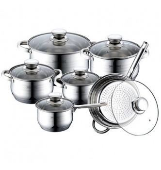 Купить Набор кухонной посуды 12 В 1 ROYALTY LINE RL-1231 (4 КАСТРЮЛИ, СОТЕЙНИК, СКОВОРОДА) - с доставкой по Украине